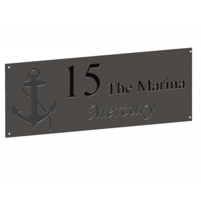Stainless House Nameplate 500 x 200