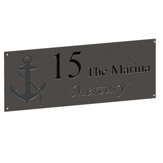Stainless House Nameplate 500 x 200 Nameplates